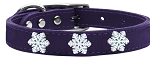 Snowflake Widget Genuine Leather Dog Collar Purple 22